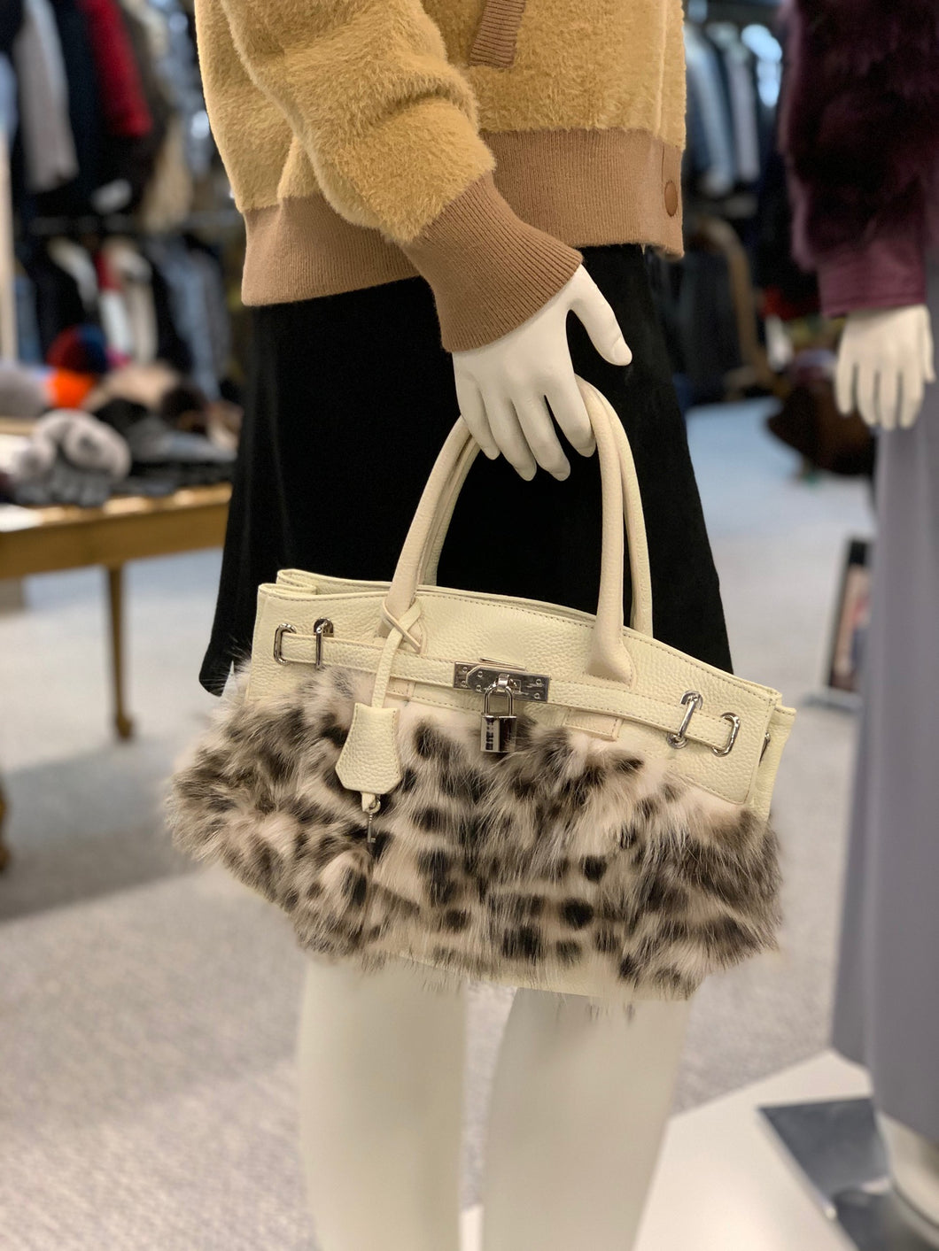 Fox Fur Leather Purse