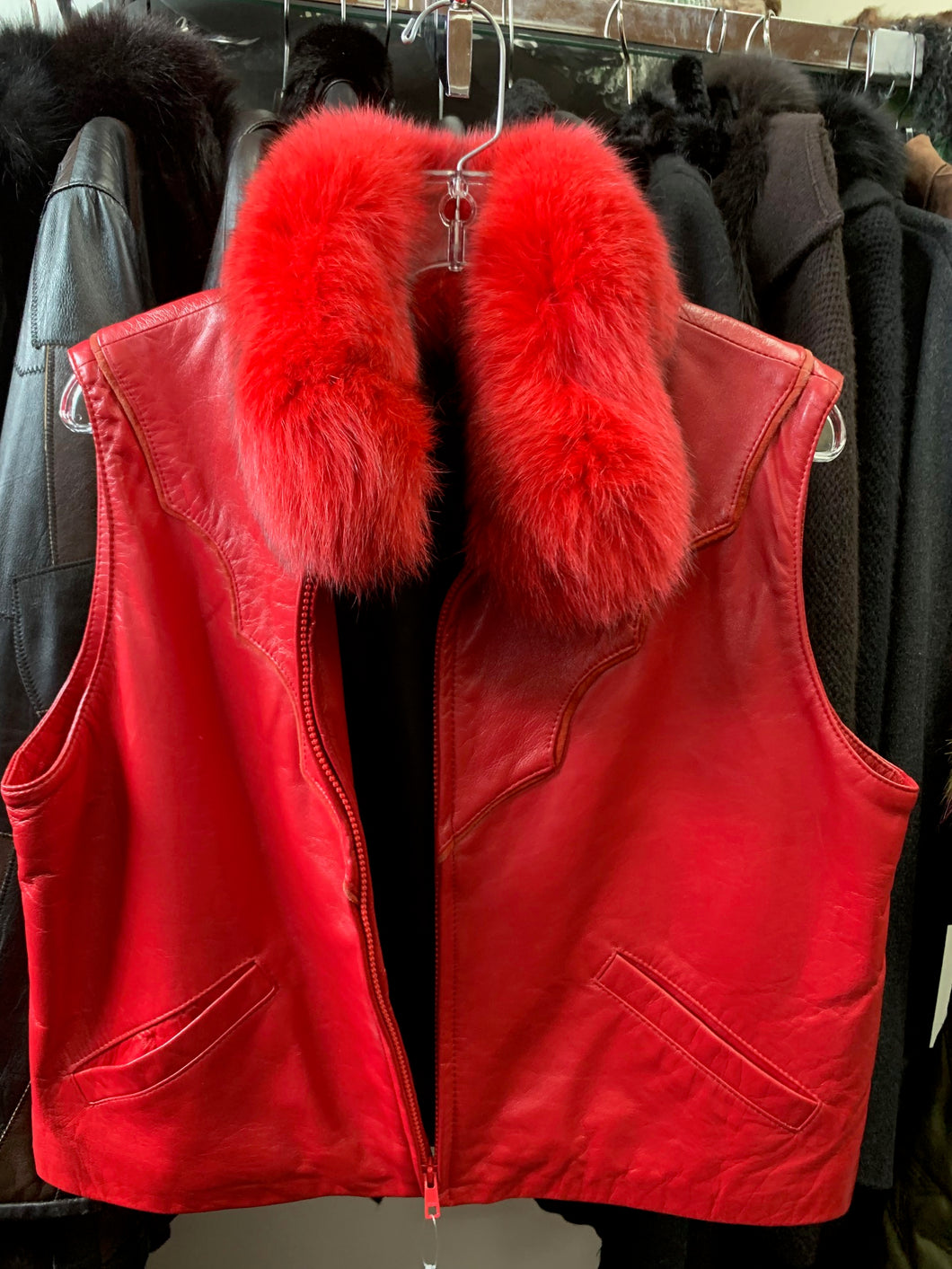 Red Leather Vest with Fur Collar
