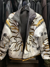 Load image into Gallery viewer, Reversible Dark Chocolate Leather to Silk Ribbon Pattern Jacket