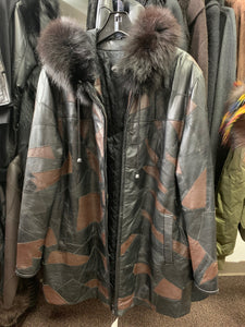 Mosaic Leather Coat with Fur Hoodie