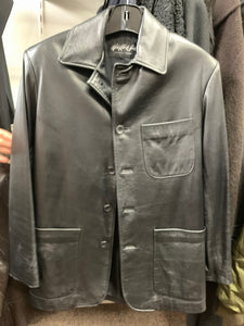 Men's Black Leather Blazer
