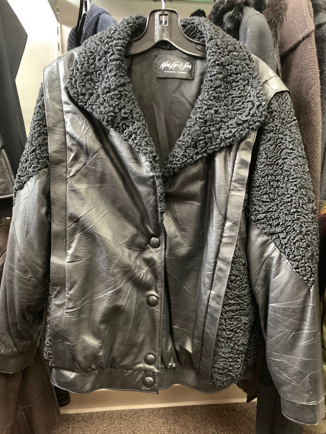 Retro Leather and Persian Lamb Jacket