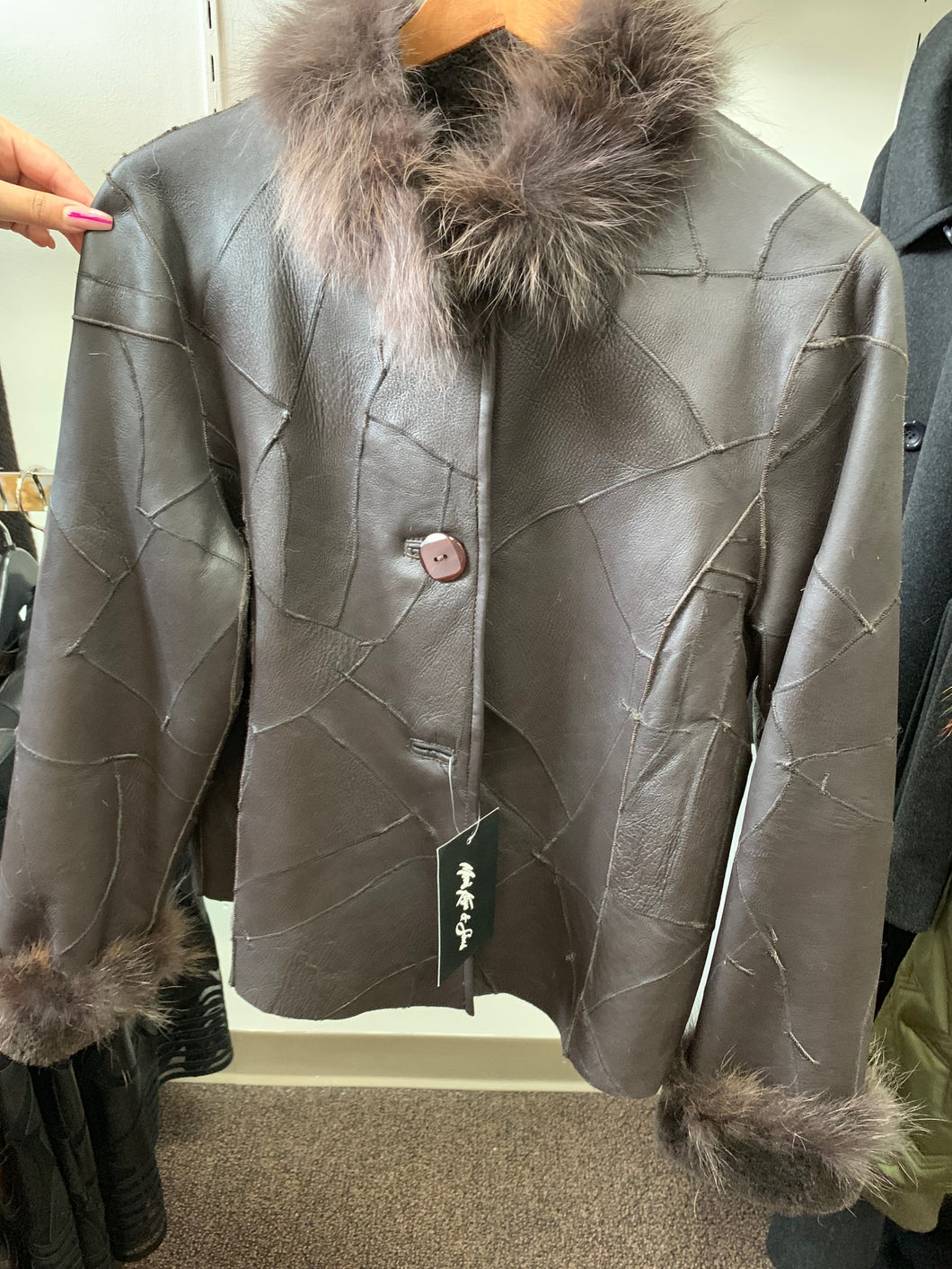 Mosaic Brown Leather Jacket with Fur Collar