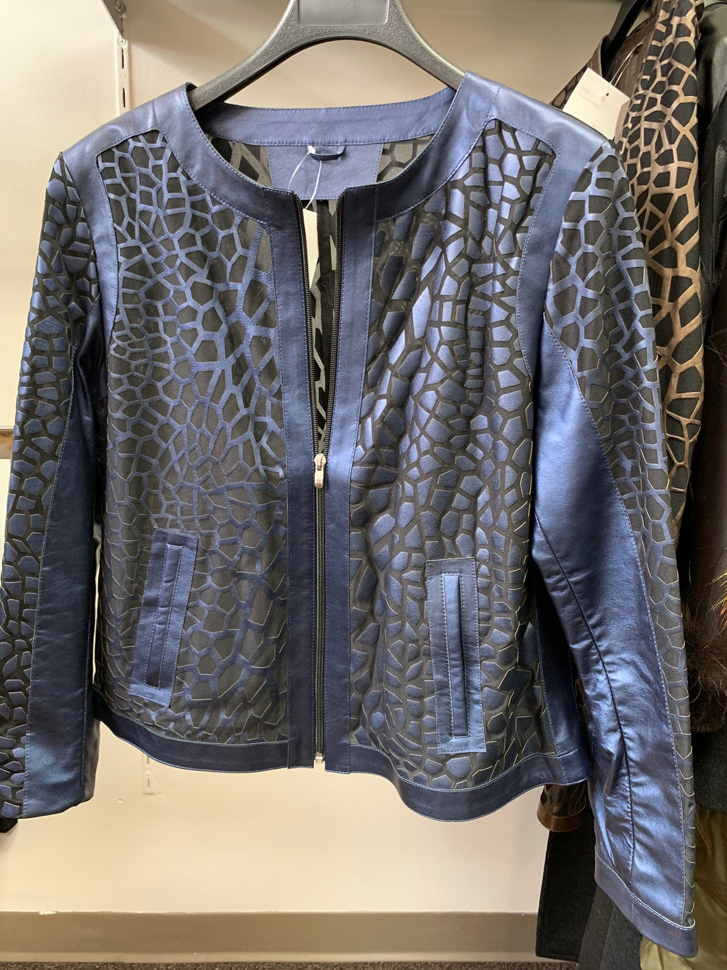 Metallic Blue Giraffe Pattern Leather and Tulle Jacket