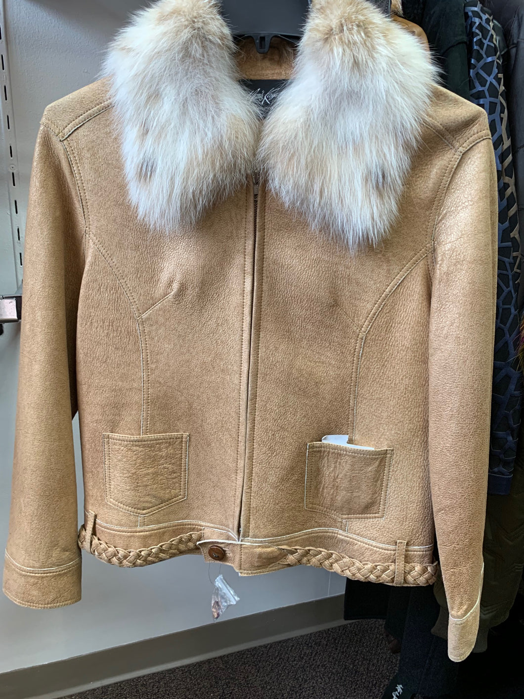 Camel colored Leather Jacket with Braided Belt and Fur Collar