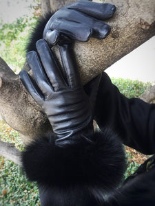 Fox Fur Trimmed Leather Gloves