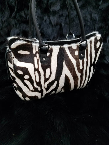 Kid and lambskin Zebra Print Purse
