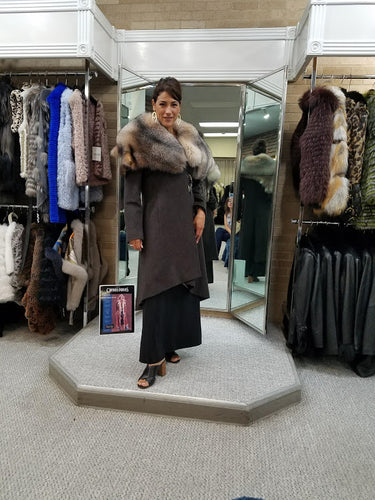 Wool Wrap Coat With Crystal Fox Fur