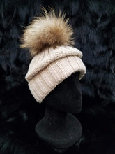 Load image into Gallery viewer, Fox Fur Detachable Pom Knit Beanie