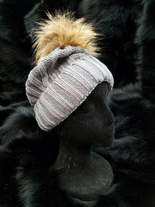 Knit Hat Detachable Fur Pom-Pom
