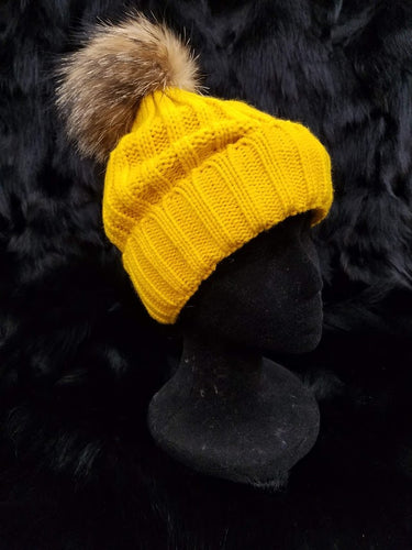 Fox Fur Detachable Pom Knit Beanie