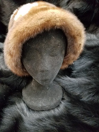 Floral Mink Fur Bucket Hat