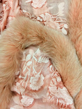 Load image into Gallery viewer, Silk Lace and Raccoon fur Shawl