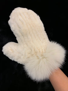 Knitted Rabbit Fur Mittens with Fox Fur Trim