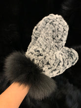 Load image into Gallery viewer, Knitted Rabbit Fur Mittens with Fox Fur Trim