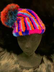 Knitted Mink Hat with Fox Beanie