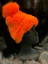Load image into Gallery viewer, Knitted Mink Hat with Fox Beanie