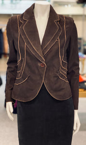 Distressed Leather Blazer Jacket