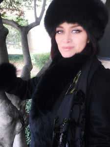 Fox Fur Cashmere Coat in Noir