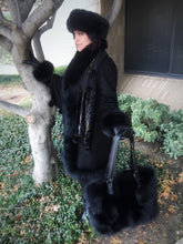 Load image into Gallery viewer, Fox Fur Cashmere Coat in Noir