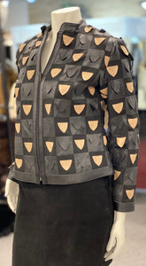 Window Style Taupe and Black Leather Jacket