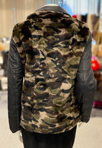 Reversible Camouflage Rabbit Fur Jacket