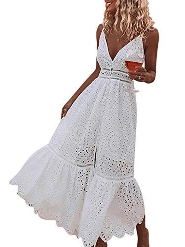 White Eyelet Embroidery Button Down Summer Sun Dress
