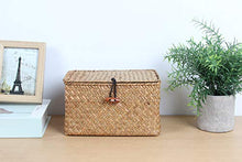 Load image into Gallery viewer, HandWoven Seagrass Baskets with Lid Set of 3