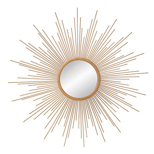 Art Deco Sunburst Golden Wall Accent Mirror - 30