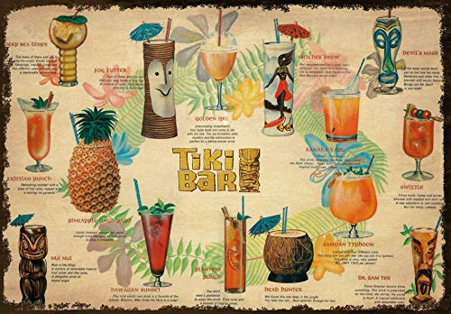 Vintage Tiki Bar Cocktail Menu Metal Tin Sign 8x12