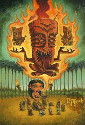 Honolulu Voodoo by P'gosh Retro Hawaiian Girl Tiki Tattoo Art Print