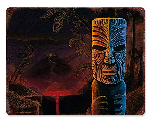 Vintage Tiki Bar Art Maori Polynesian Volcano Wall Decoration 8x12