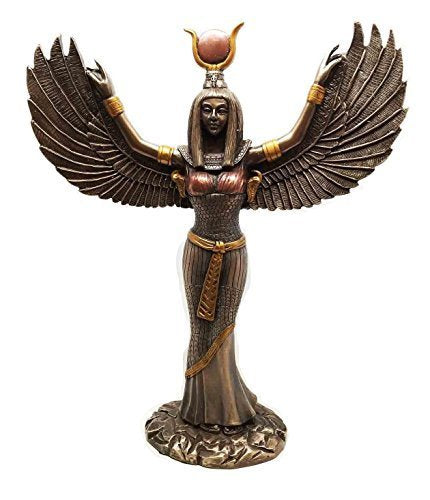 Egyptian Theme Isis With Open Wings Goddess of Magic and Nature Bronzed Statue Sculpture