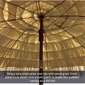 8 feet Round Hawaiian Style Outdoor Thatched Tiki Umbrella with Tilt and Carry Bag Including (8 Feet, Natural)
