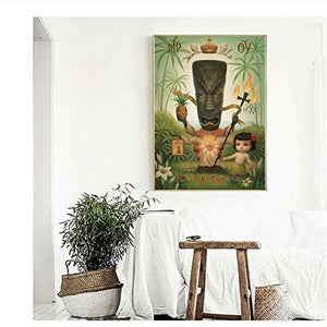 Tiki God Childish Strange Dark World Wall Art Canvas 50 x 75cm