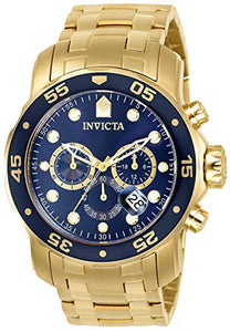 Men's Pro Diver Collection Chronograph 18k Gold-Plated Watch with Link Bracelet