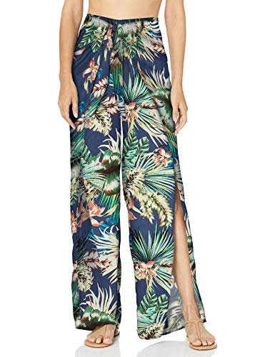 Women's Tie Front Side Slit Pant Swim Cover-up, Blue Moon//Tropical rain, X-Large