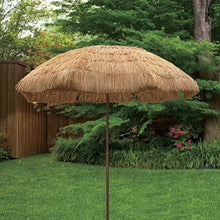 Load image into Gallery viewer, 8 feet Round Hawaiian Style Outdoor Thatched Tiki Umbrella with Tilt and Carry Bag Including (8 Feet, Natural)