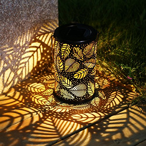 Solar Lantern Hanging Lights Metal Leaf Pattern