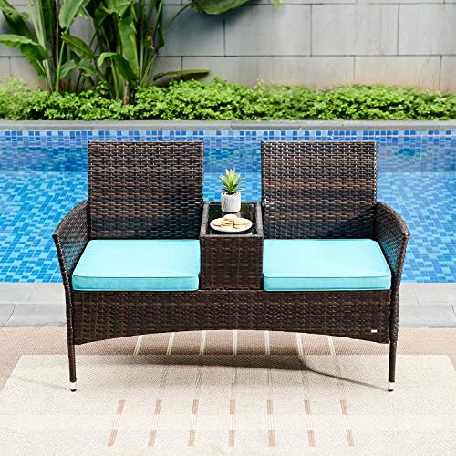 Rattan Loveseat with Built-in Table