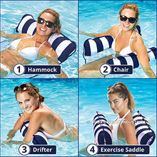 Load image into Gallery viewer, Inflatable Pool Float, Multi-Purpose Pool Hammock (Saddle, Lounge Chair, Hammock, Drifter) Pool Chair, Portable Water Hammock, Navy/White Stripe