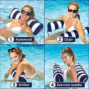 Inflatable Pool Float, Multi-Purpose Pool Hammock (Saddle, Lounge Chair, Hammock, Drifter) Pool Chair, Portable Water Hammock, Navy/White Stripe
