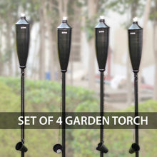 Load image into Gallery viewer, Iron Tiki Torches Set of 4 60-inch Citronella Garden Outdoor/Patio Flame Metal Torch -Black Matt