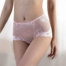 Load image into Gallery viewer, Mid-Waist Lace Briefs Ladies Translucent Mesh Panties