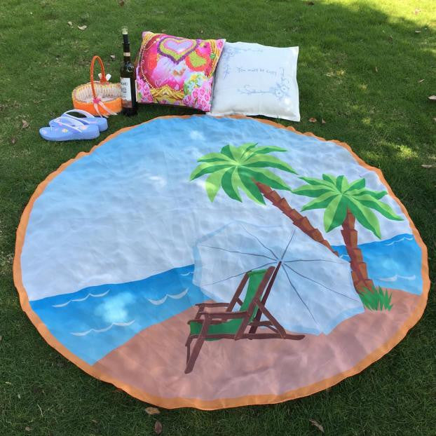 Round Beach Pool Home Shower Towel Blanket Table Cloth Beach Cover Up Bikini