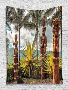 Palm Tree Tapestry Tropical Island Ocean Hawaii Tiki Mask Wall Pictures for Bedroom Living Room Wall Hanging Tapestry
