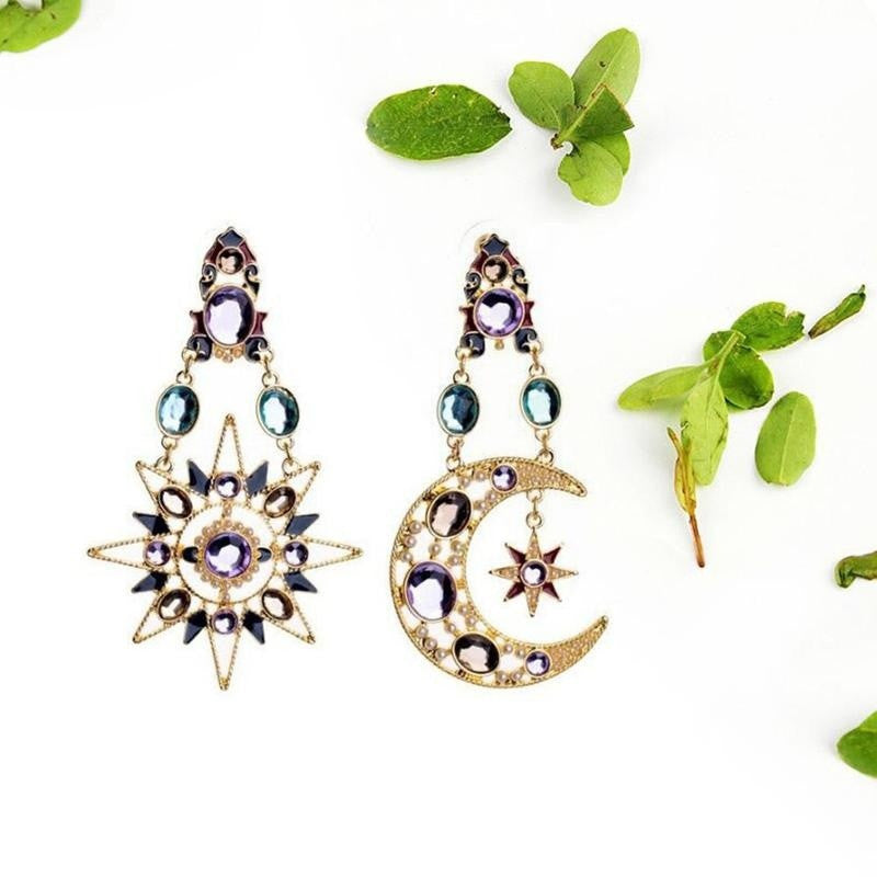 Diamond studded Sun Moon Star Sea Goddess Earrings