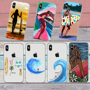Surfboard and Surfing sunset Cool Soft Transparent TPU Phone Case For iPhone8 8Plus 7 7Plus 6DPlus 5S SE Surfer girl Case