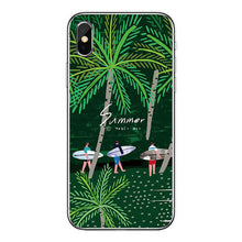 Load image into Gallery viewer, Surfboard and Surfing sunset Cool Soft Transparent TPU Phone Case For iPhone8 8Plus 7 7Plus 6DPlus 5S SE Surfer girl Case