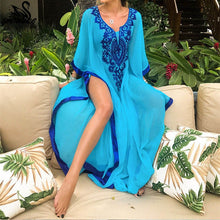 Load image into Gallery viewer, Plus Size Blue Embroidered Summer Beachwear Chiffon Kaftan Beach Woman Tunic Bath Dress Robe plage Swim Wear Cover Up